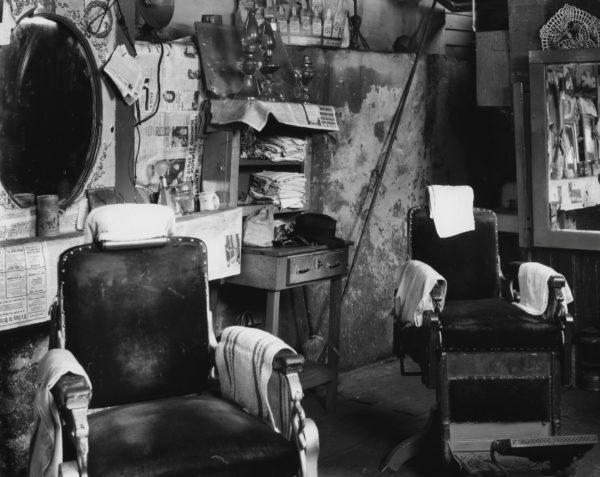 Walker Evans, Negro Barber Shop Interior, Atlanta, 1936