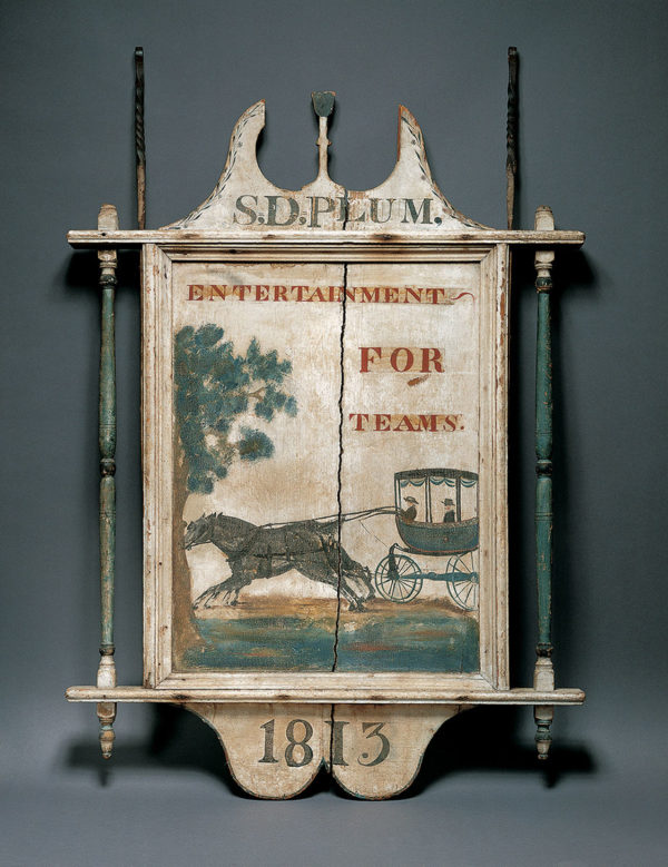 S. D. Plum Tavern Sign, Artist unidentified, 1813